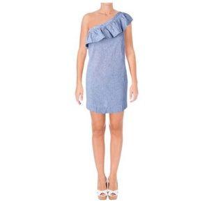 AQUA Mara Linen Blend Striped Casual Dress